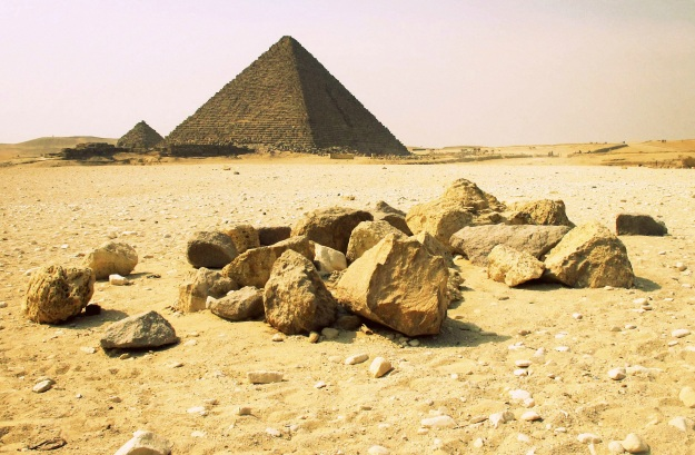 Rocks and pyramids at Giza, Egypt